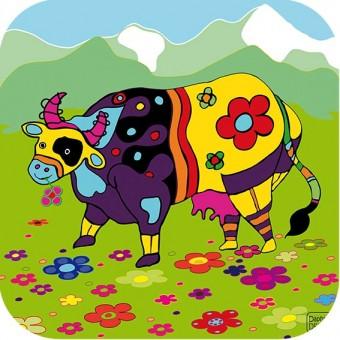 """Jeu de puzzle en bois """"Valentine, la vache"""""""