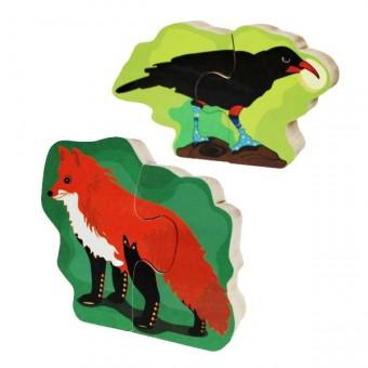 """Jeu de puzzle en bois """"Le corbeau et le renard"""""""